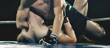 MMA fighters on ring royalty free stock photo