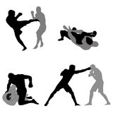 Mma fighters silhouettes. Fighters silhouettes for mma event Stock Photos