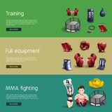 Mma fighting interactive 3d banners set Royalty Free Stock Photography