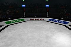 Mma fighting octagon stage 3d render. Empty mma arena with fans on the background 3d rendering Stock Photography