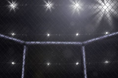 Mma fighting stage side view under lights. Empty mma arena side view under lights royalty free stock photography