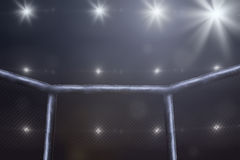 Mma fighting stage side view under lights. Empty mma arena side view under lights stock photos