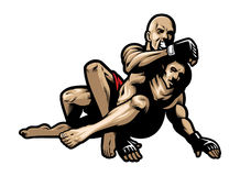 MMA fighting. Vector of MMA fighters fighting royalty free illustration