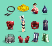 Mma fights 3d icons set Stock Photos