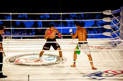 MMA fights without rules. Agoni Romero, Spain and Rinat Kul?tumanov, Russia Stock Images