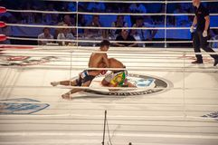 MMA fights without rules. Agoni Romero, Spain and Rinat Kultumanov, Russia. Stock Photo