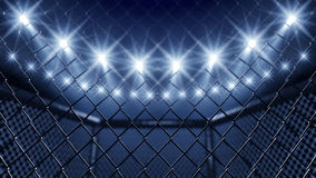 MMA floodlights i klatka Fotografia Royalty Free