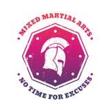 MMA, gemengd vechtsportenembleem met Spartaanse helm Royalty-vrije Stock Afbeelding