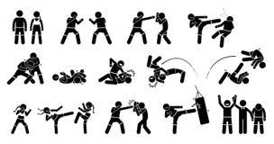 MMA gemengde vechtsportenacties royalty-vrije illustratie