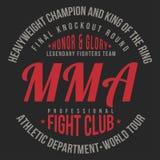MMA, Gemengde Vechtsportentypografie voor t-shirtdruk Sporten, atletische t-shirtgrafiek Royalty-vrije Stock Afbeeldingen