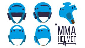 MMA Helmet Vector. Sport Game Equipment Icon. Different View. Boxing Protection Helmet. Isolated Flat Illustration. MMA Helmet Vector. Sport Game Equipment Icon vector illustration