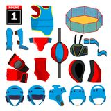 MMA Icons Set Vector. MMA Accessories. Round, Arena, Ring, Gloves, Helmet, Belt. Isolated Flat Cartoon Illustration. MMA Icons Set Vector. MMA Accessories. Round stock illustration