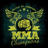 MMA labels on grunge background. Vector illustration Royalty Free Stock Images