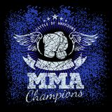 MMA labels on grunge background. Vector illustration Royalty Free Stock Photo