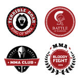 MMA Labels - Mixed Martial Arts Design. Vector MMA Labels - Mixed Martial Arts Design Isolated on White Background Royalty Free Stock Photo