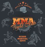 MMA Labels -  Vector Mixed Martial Arts Design. MMA Fight Clib - Vector Labels  Mixed Martial Arts Design Royalty Free Stock Images