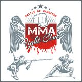 MMA Labels -  Vector Mixed Martial Arts Design. MMA Fight Clib - Vector Labels  Mixed Martial Arts Design Royalty Free Stock Photography