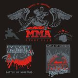 MMA Labels -  Vector Mixed Martial Arts Design. Stock Image