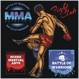 MMA Labels -  Vector Mixed Martial Arts Design. MMA Fight Clib - Vector Labels  Mixed Martial Arts Design Stock Photo