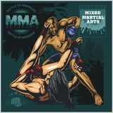 MMA Labels -  Vector Mixed Martial Arts Design. MMA Fight Clib - Vector Labels  Mixed Martial Arts Design Stock Photography