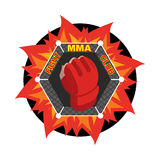 MMA logo. Fighting glove. Emblem for sports team and club. Comba. T badge for athletes Royalty Free Stock Photos