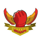 MMA logo. Fighting glove. Emblem for sports team and club. Comba. T badge for athletes Stock Photography