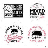 MMA logo templates in vintage style. Gym and fintess MMA. MMA logo templates in vintage style. Retro mixed martial arts badges Stock Photos