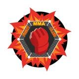 MMA logo Walcząca rękawiczka Emblemat dla sporta klubu i drużyny Comba royalty ilustracja