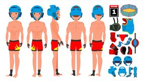 MMA Man Player Male Vector. Preparing For Training. Traditional Fighting Poses. Cartoon Athlete Character Illustration. MMA Player Male Vector. Muay Thai Poses Royalty Free Stock Photos