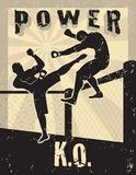 MMA Mixed Martial Arts. Poster of a kick Vector Illustration