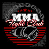 MMA mixed martial arts emblem badges. On a black background. Vector emblem Royalty Free Stock Photography