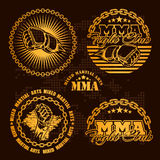 MMA mixed martial arts emblem badges - vector set. Gold style Stock Image