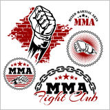 MMA mixed martial arts emblem badges. On a white background. Vector emblem Stock Photos