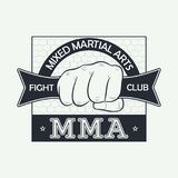 MMA. Mixed martial arts. Fight club logo. Print for design clothes, t-shirt stamp, typography of athletic apparel. Vector. Royalty Free Stock Photos