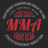 MMA, Mixed Martial Arts typography for t-shirt print. Sports, athletic t-shirt graphics Royalty Free Stock Images