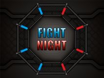 MMA octagon cage. Vector illustration of MMA cage.Mixed martial arts octagon cage, top view Royalty Free Stock Image