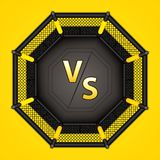 MMA octagon cage. Vector illustration of MMA cage.Mixed martial arts octagon cage, top view stock illustration