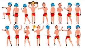 MMA Player Male Vector. Muay Thai Poses. Muscular Sports Guy Workout. Isolated Flat Cartoon Character Illustration. MMA Young Man Player Vector. Man. Fighters vector illustration