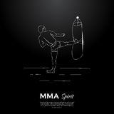 MMA spirit fighter and punching bag Royalty Free Stock Image