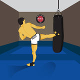 MMA spirit fighter and punching bag Royalty Free Stock Images