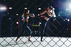MMA-Strijd in dozen doende Vrouwen royalty-vrije stock afbeelding