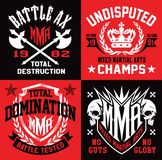 MMA style emblem graphics. MMA mixed martial arts-inspired emblem graphics.  Available in eps vector for easy editing Royalty Free Stock Images