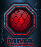 MMA Training Cage Octagon Sign. MMA Training Cage Octagon Sign with a Red Glow on a Steel Grunge Metal Background, Vector Illustration Royalty Free Stock Image