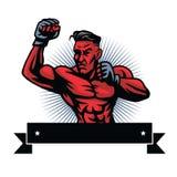 MMA-Vechter Logo Design Template Stock Fotografie