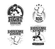 MMA vector vintage emblems, labels, badge, logos. Sport logotype or badge for boxing and kickboxing or mma, athlete martial emblem mma illustration Royalty Free Stock Photography