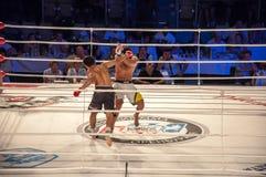 MMA walki bez reguł. Agonia Romero, Hiszpania Kultumanov i Rinat, Rosja. Zdjęcie Stock