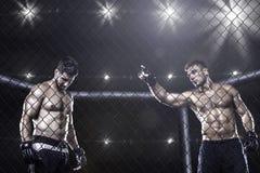 MMA wojownicy wśrodku areny przed walką Obraz Royalty Free