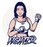 Mma woman fighter vector illustration