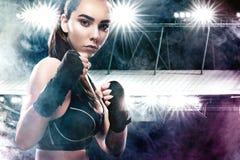 MMA woman sportsmen. Stock Photo