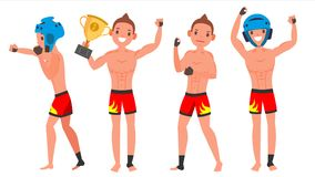 MMA Young Man Player Vector. Man. Fighters Fighting. Training Club. Poses Set. Flat Athlete Cartoon Illustration. MMA Male Player Vector. Fighting On Ring, Cage Stock Photography